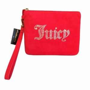 Juicy Couture Velvet Rhinestones Wristlet, Red